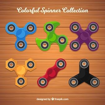 Zes kleur spinners in plat ontwerp