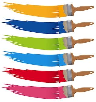 Zes kleuren op verschillende penselen