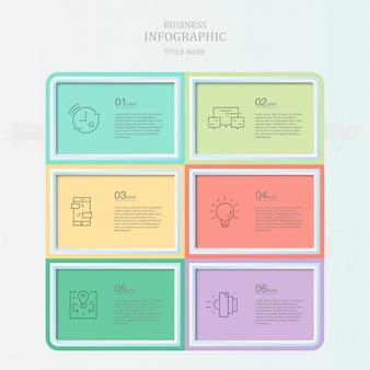 Zes kleurrijke doos infographic sjabloon voor huidige bedrijfsconcept.