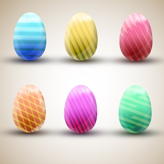 Zes kleurrijke gestreepte gelukkige paaseierenpictogrammen geplaatst die op lichte oppervlakte vlakke vectorillustratie worden geïsoleerd