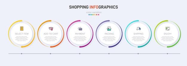 Zes kleurrijke grafische elementen voor opeenvolgende stappen van het winkelproces met pictogrammen en tekst