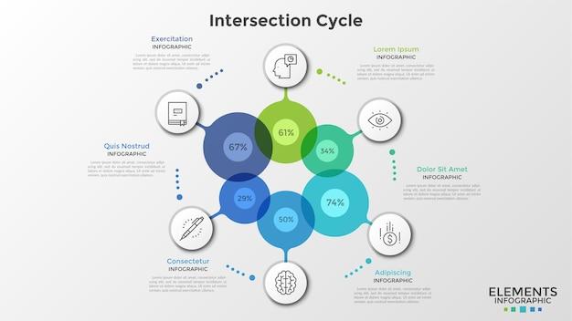 Zes kleurrijke transparante cirkels met percentageaanduiding binnenin verbonden met ronde papieren witte elementen met lineaire pictogrammen. infographic ontwerpsjabloon. vectorillustratie voor statistisch rapport.