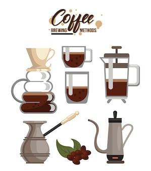 Zes koffiezetmethoden bundelen set pictogrammen