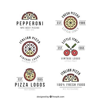 Zes logo's voor pizza op een witte achtergrond