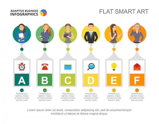 Zes managers verwerken grafieksjabloon voor presentatie. visualisatie van bedrijfsgegevens