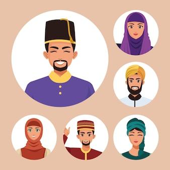 Zes moslim personen