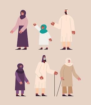 Zes moslimpersonen