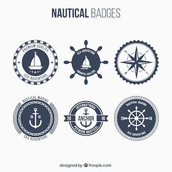 Zes nautische badges, donkerblauw