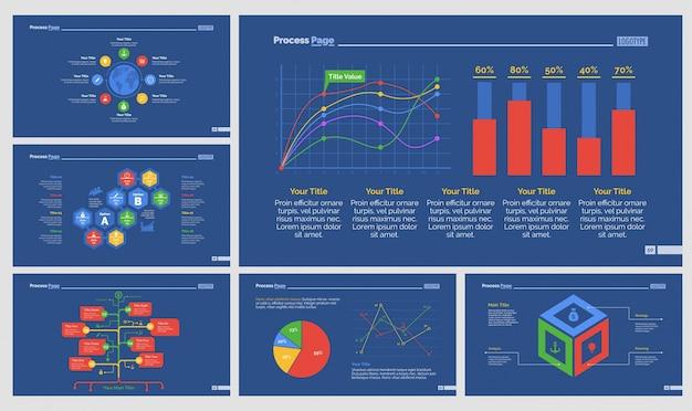 Zes onderzoek diagrammen slide templates set