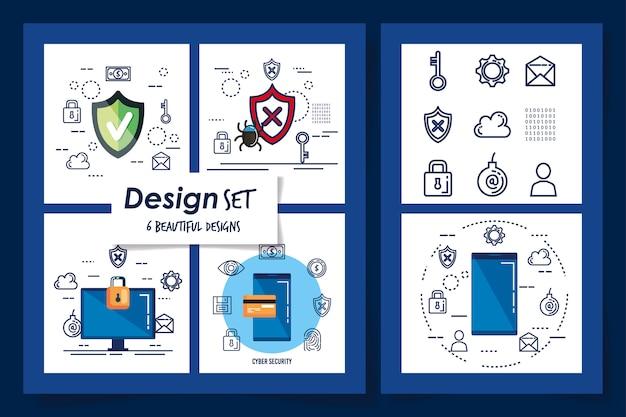 Zes ontwerpen van cyberbeveiliging en vastgestelde pictogrammen