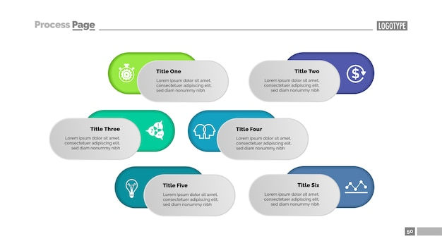 Zes opties oplossing proces grafieksjabloon. bedrijfsgegevens.