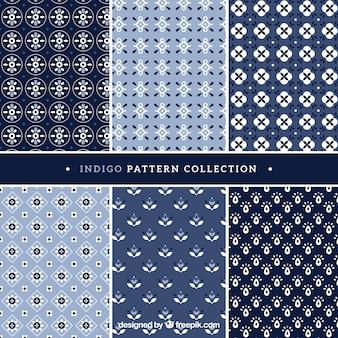 Zes patronen indigo stijl