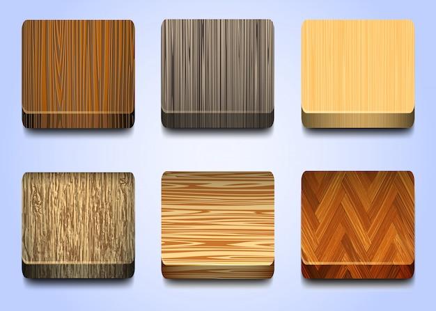 Zes pictogrammen met houten textuur