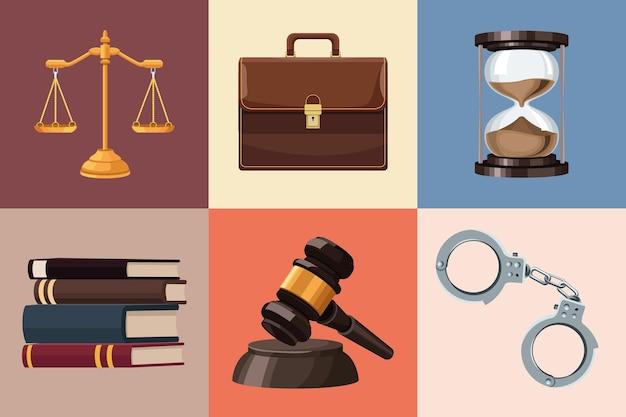 Zes pictogrammen voor rechtspraak