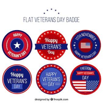 Zes platte veteranen dag badges