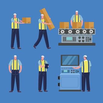 Zes productiearbeiders