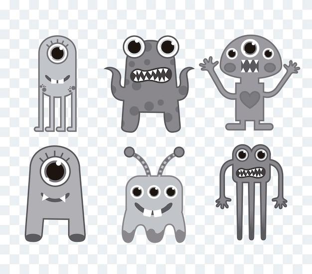 Zes schattige monsters over pleinen achtergrond grijs