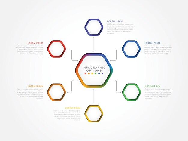 Zes stappen 3d infographic sjabloon met zeshoekige elementen op wit