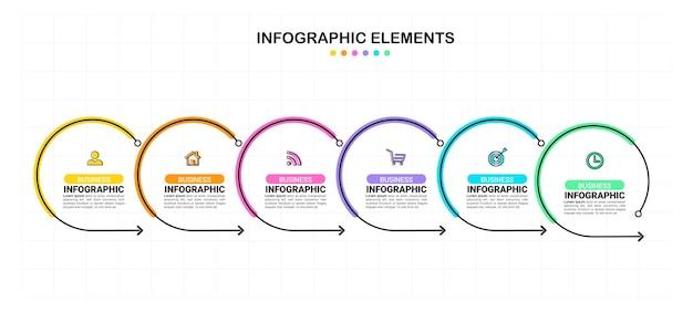 Zes stappen infographic element sjabloon