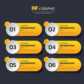 Zes stappen infographics-sjabloon