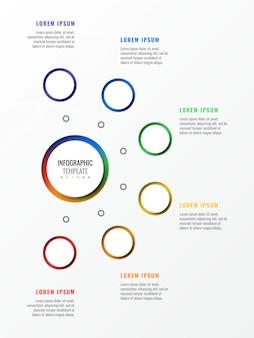 Zes stappen ontwerp lay-out infographic sjabloon met ronde 3d-realistische elementen.