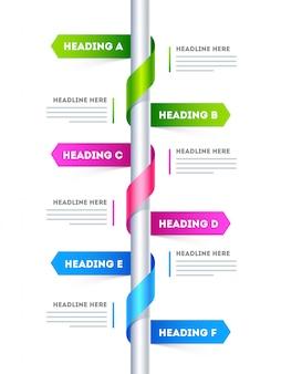 Zes stappen, tijdlijn infographic lay-out met kop omschrijving