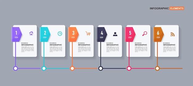 Zes stappen tijdlijn infographic sjabloon