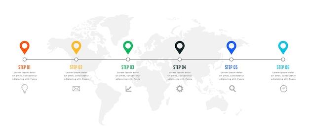 Zes stappen tijdlijn of mijlpaal infographic sjabloon