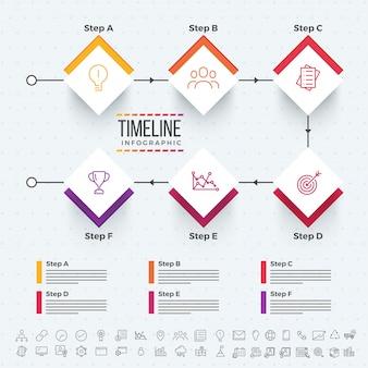 Zes stappen, timeline infographics layout met pictogrammen, in zwart-wit en kleurrijke versies.