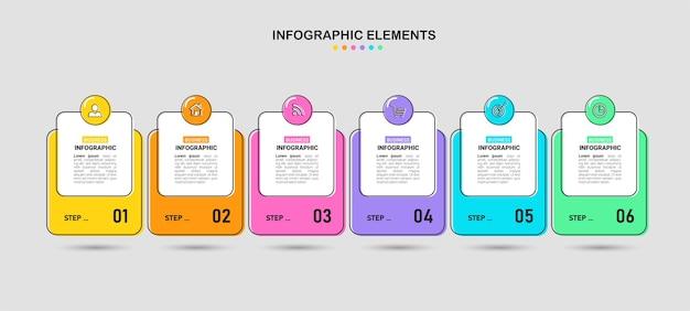 Zes stappen zakelijke infographic.