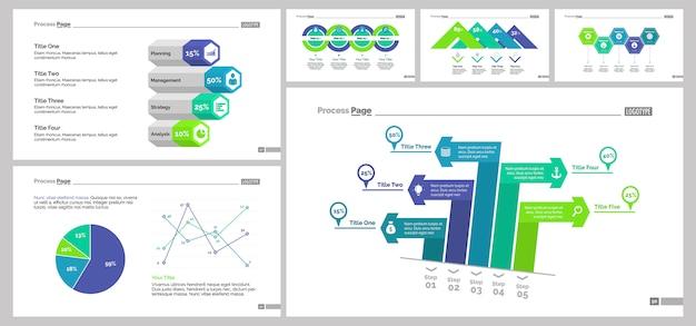 Zes statistiek slide templates set
