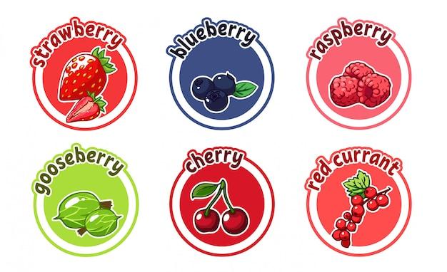 Zes stickers met verschillende bessen. kers, aardbei, bes, bosbes en kruisbes.