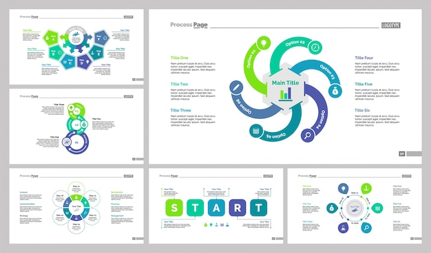 Zes strategy slide templates set