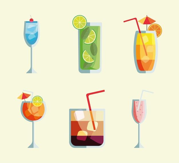 Zes tropische cocktails bekers drankjes