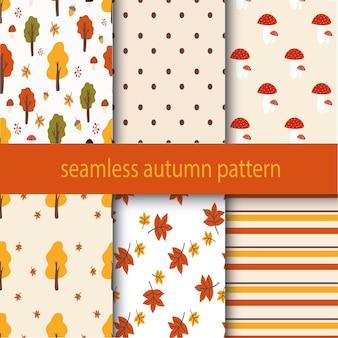 Zes verschillende herfstnaadloze modellen oneindige textuur voor het inwikkelen van de achtergrond van de achtergrondwebpagina