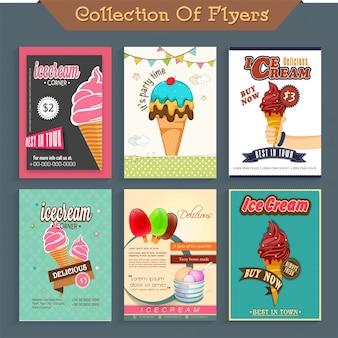 Zes verschillende ice cream flyers, sjabloon of prijs kaart ontwerp