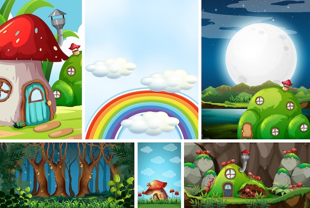 Zes verschillende scènes uit de fantasiewereld met mooie feeën in het sprookje en mier met mierennest, lege hemel met regenboog, bos bij nachtscène