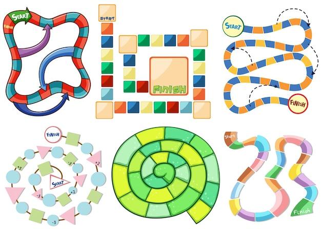 Zes verschillende sjablonen van puzzelspel