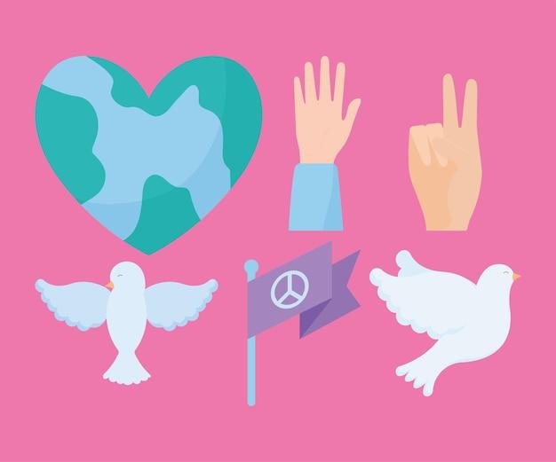 Zes vredespictogrammen