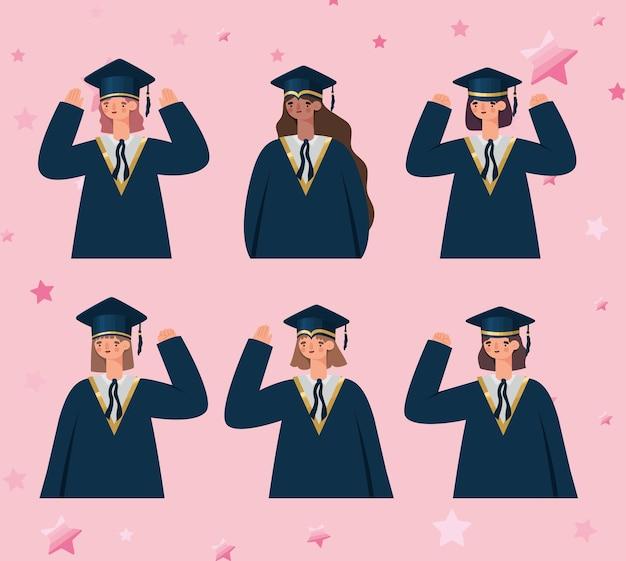 Zes vrouwelijke afgestudeerden