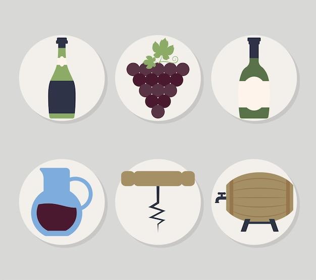 Zes wijnpictogrammen