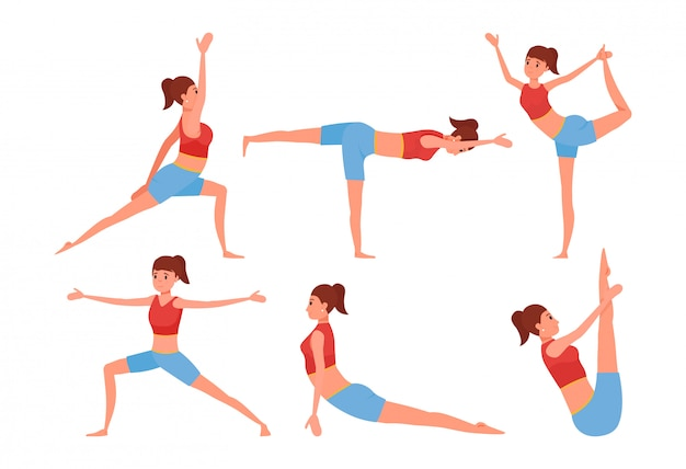 Zes yoga houdingen ingesteld. glimlachend meisjeskarakter die oefeningen doen.