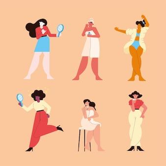Zes zelfzorgpersonages voor meisjes