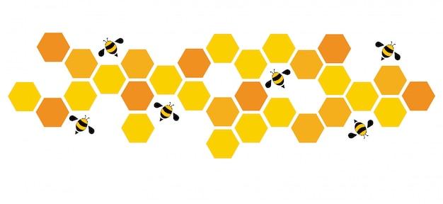 Zeshoek bee bijenkorf ontwerp achtergrond