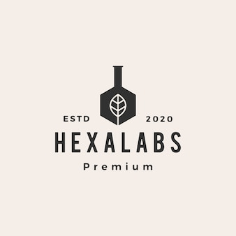 Zeshoek blad lab labs hipster vintage logo pictogram illustratie