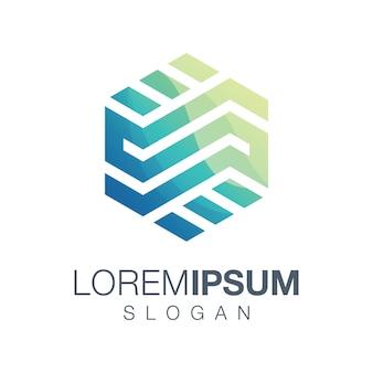 Zeshoek creatief logo-ontwerp