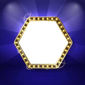 Zeshoek frame met neon lampen geïsoleerd blauw