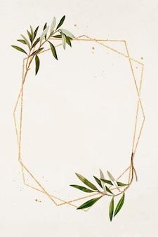 Zeshoek gouden frame olijftak patroon vector