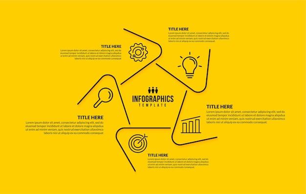 Zeshoek infographic sjabloon met 5 opties dunne lijn zakelijke pictogrammen ontwerpconcept