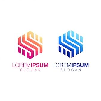 Zeshoek inspiratie gradiënt kleur logo ontwerp